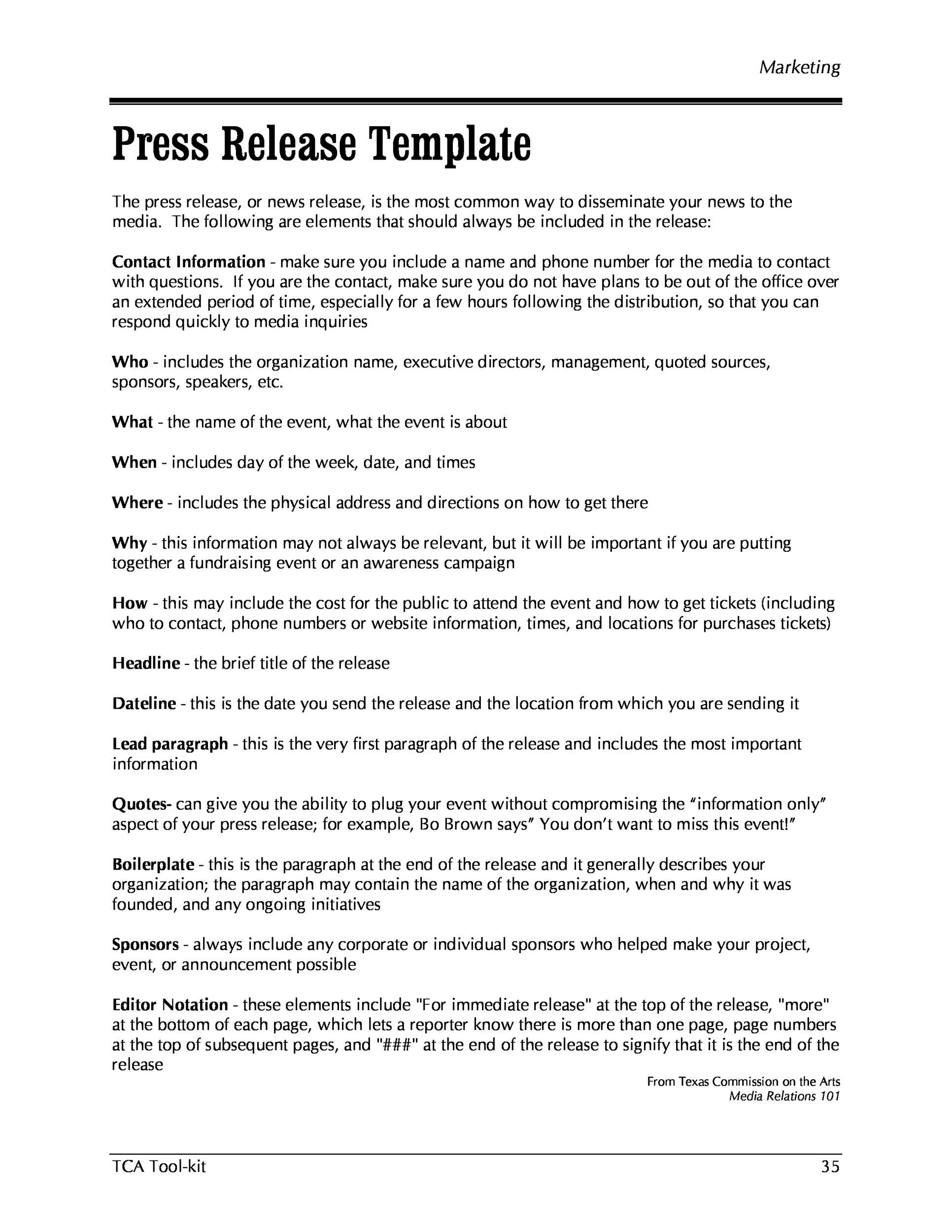 008 Fascinating Pres Release Template Doc Sample  Format ExampleFull