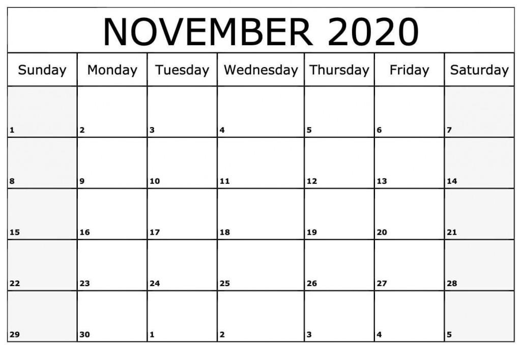 008 Fascinating Printable Calendar Template November 2020 Sample  FreeLarge