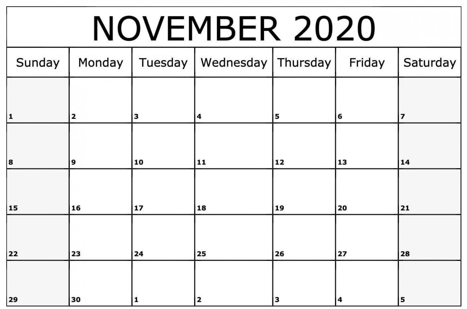 008 Fascinating Printable Calendar Template November 2020 Sample  Free1920