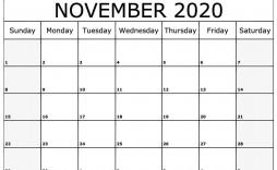 008 Fascinating Printable Calendar Template November 2020 Sample  Free