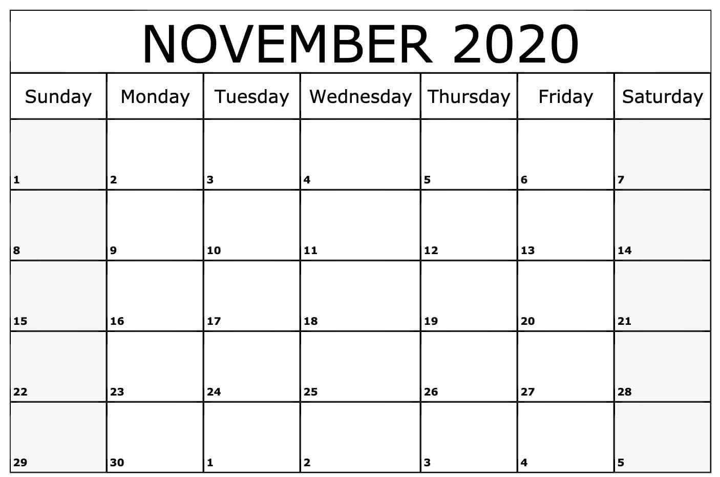 008 Fascinating Printable Calendar Template November 2020 Sample  FreeFull