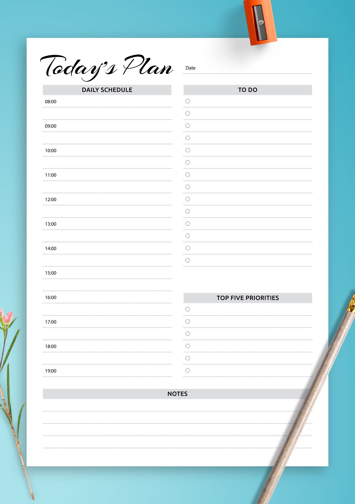 008 Fascinating Printable Daily Schedule Template Photo Full