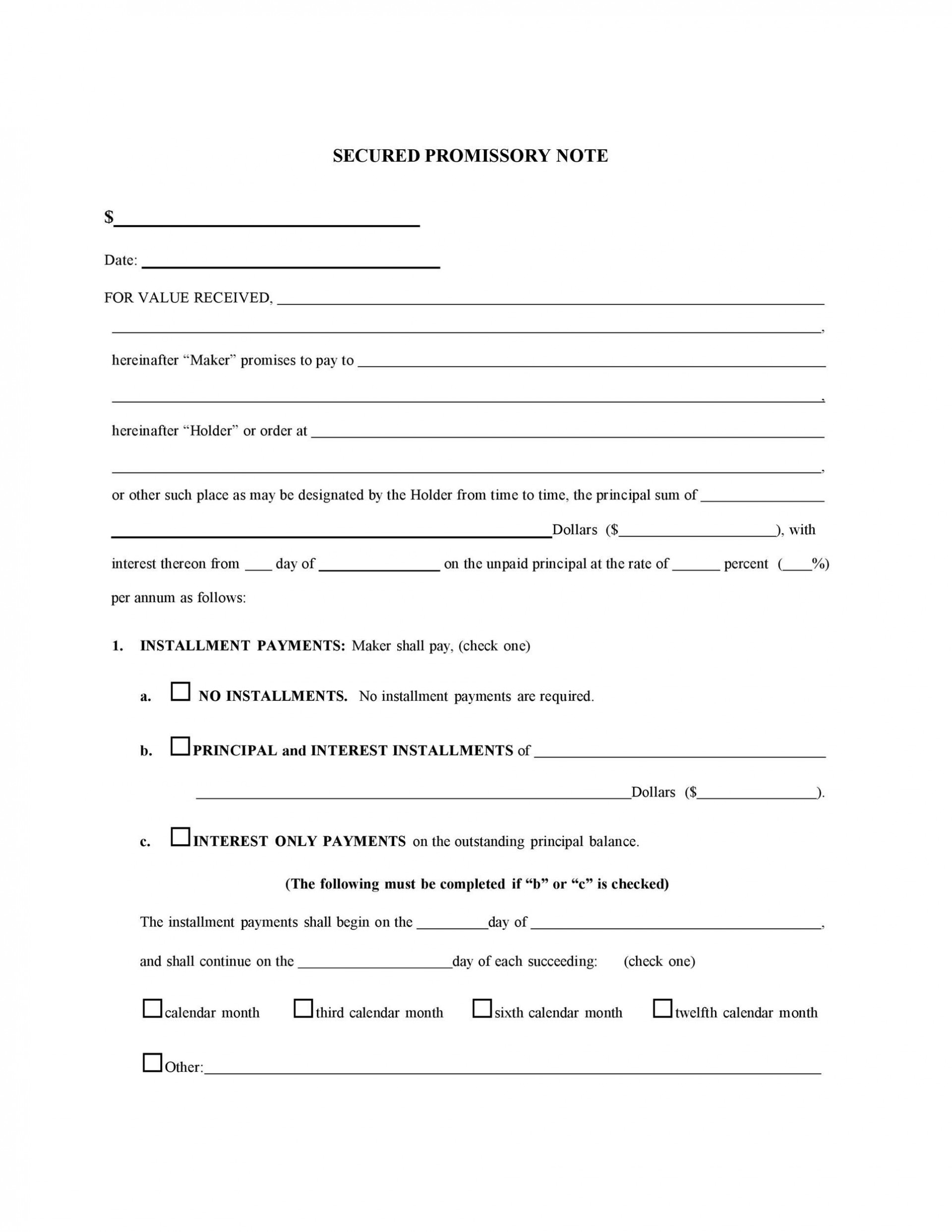 008 Fascinating Promissory Note Template Free Photo  Pdf Florida Blank Form1920