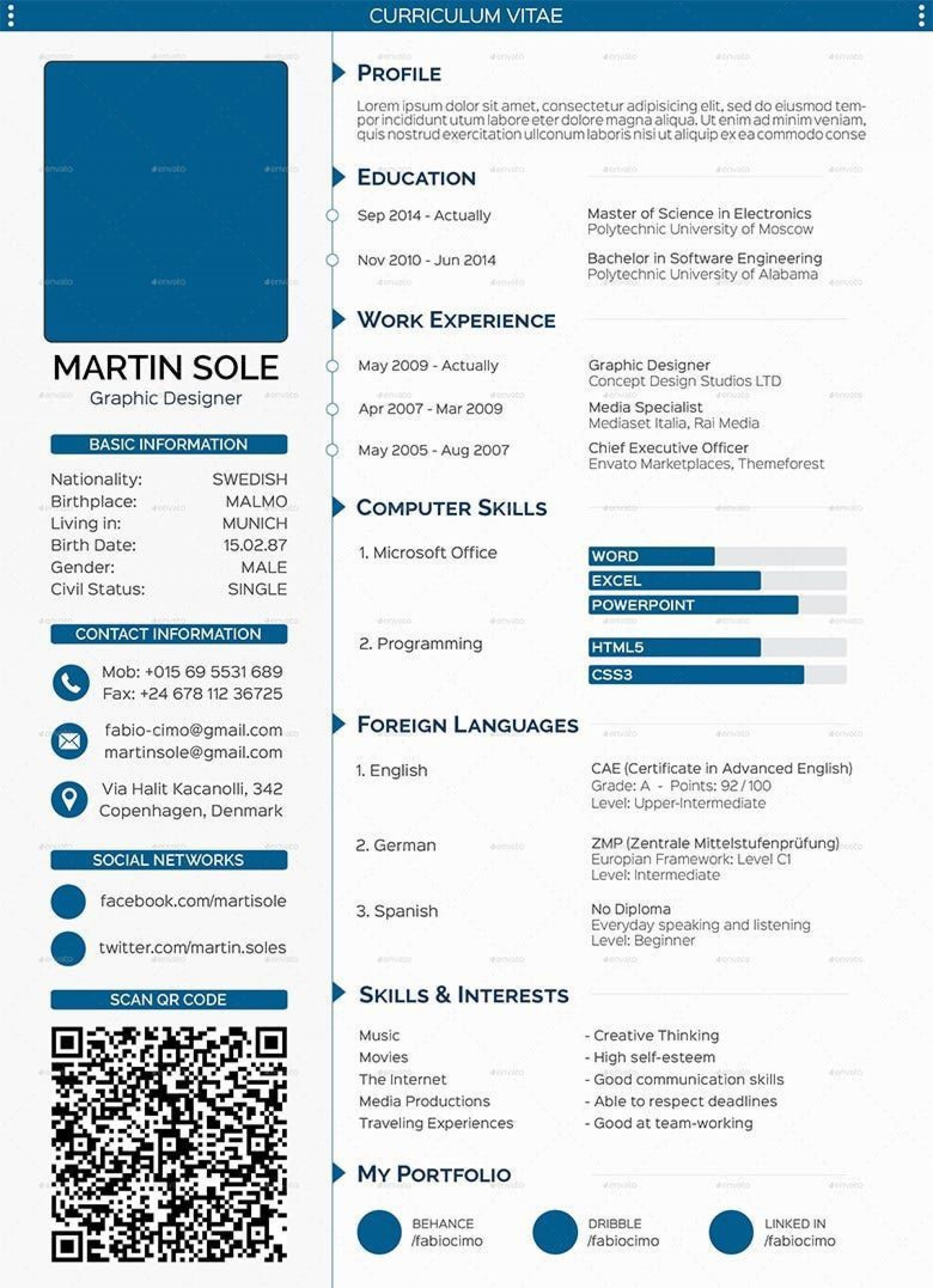 008 Fascinating Sample Curriculum Vitae Template Download Picture  Professional Pdf Free For Student1920