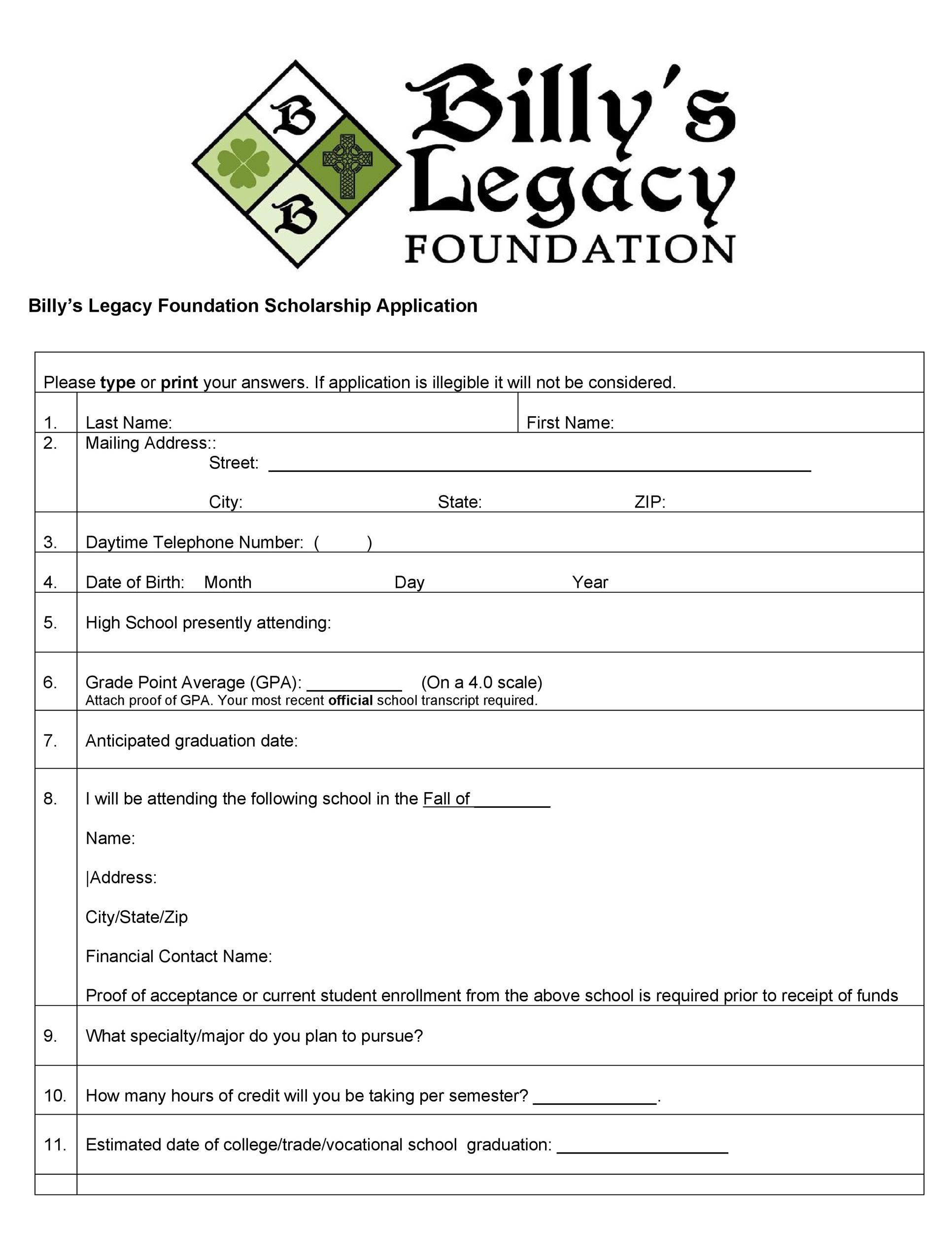 008 Fascinating Scholarship Application Template Word Example  College Letter SampleFull