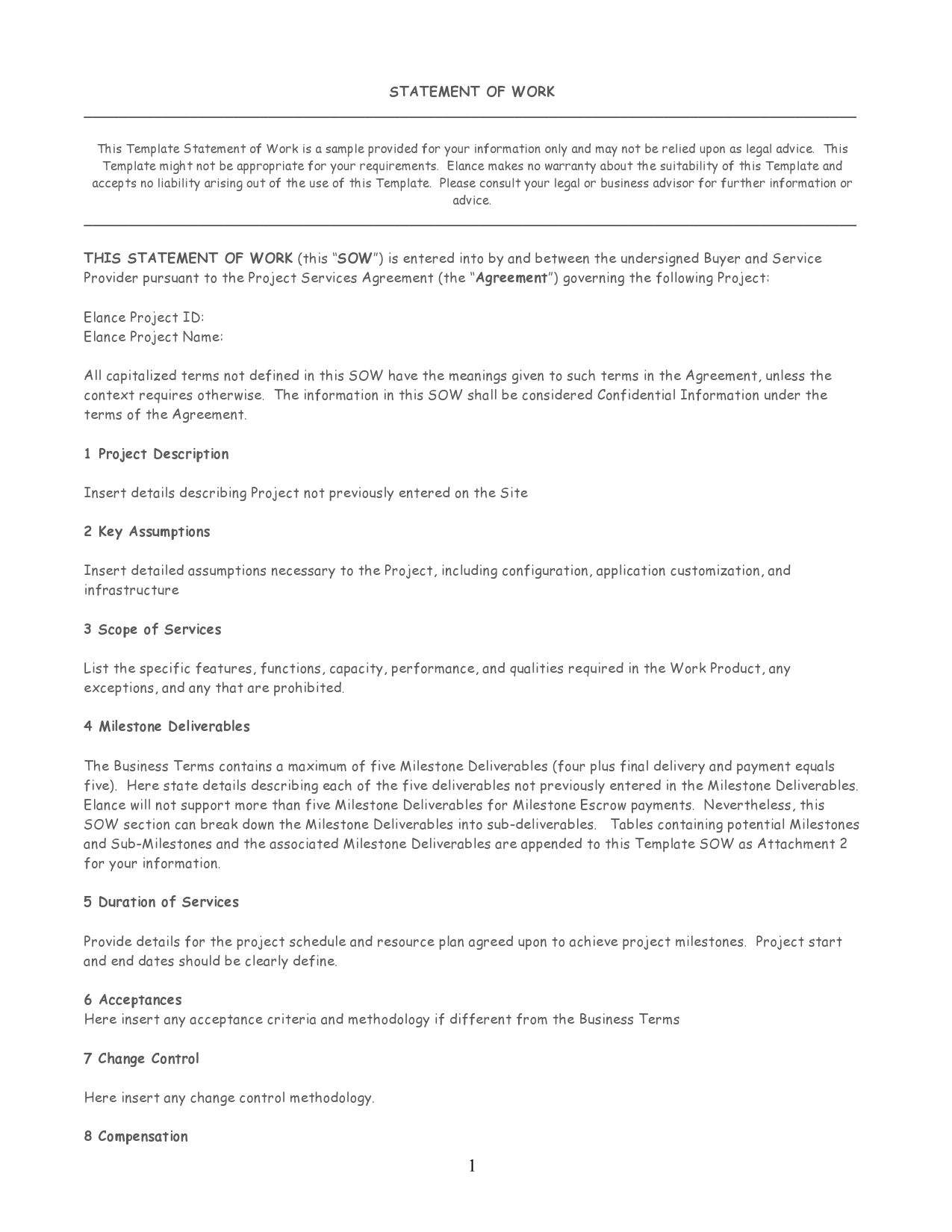 008 Fascinating Scope Of Work Template M Word Concept Full