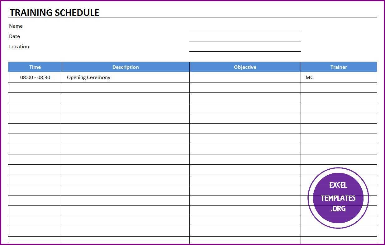 008 Fascinating Training Plan Template Excel Image  Schedule Download Calendar FreeFull