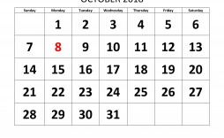 008 Fearsome Calendar Template October 2018 Word Sample