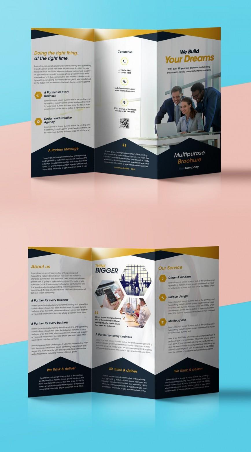 008 Fearsome Free Tri Fold Brochure Template Photo  Word Photoshop Download Adobe Illustrator