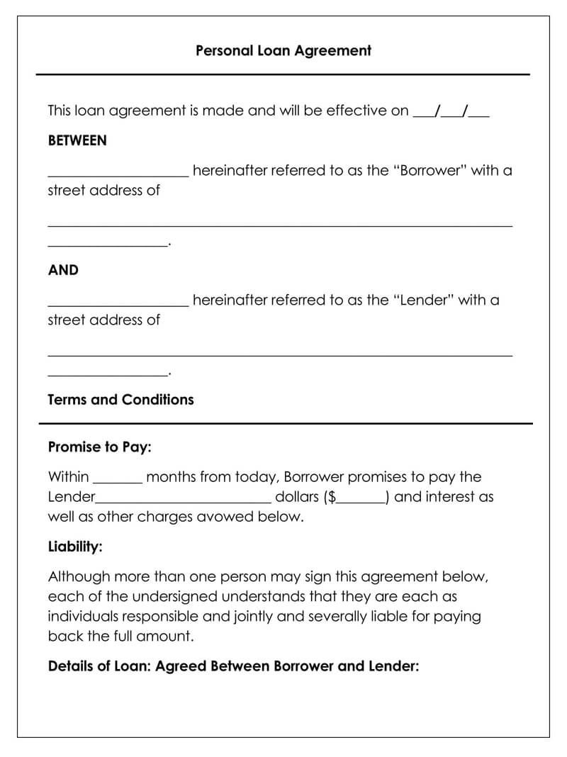 008 Fearsome Loan Agreement Template Free Image  Wording Family Uk Personal AustraliaFull
