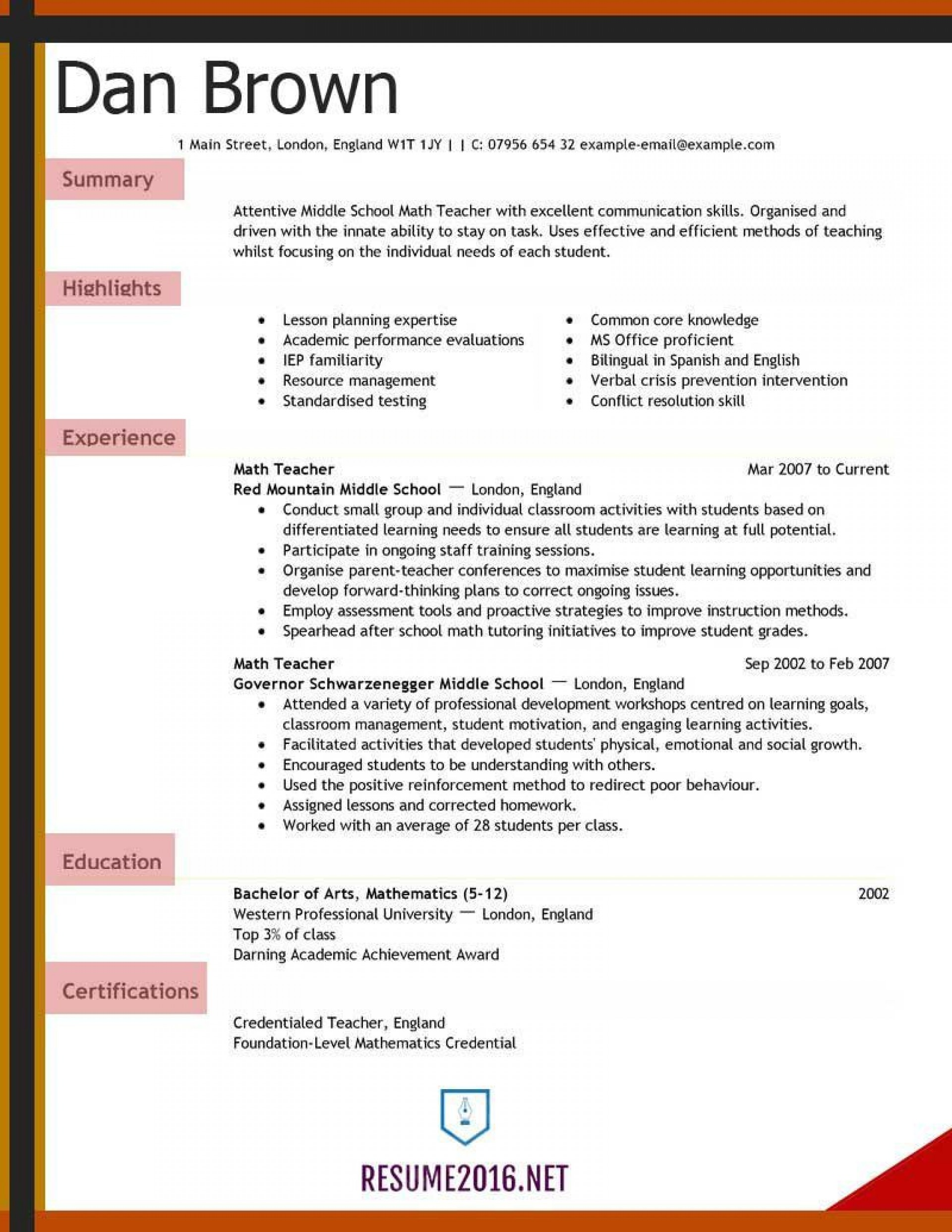008 Fearsome Teacher Resume Sample Free Download Picture  Cv1920