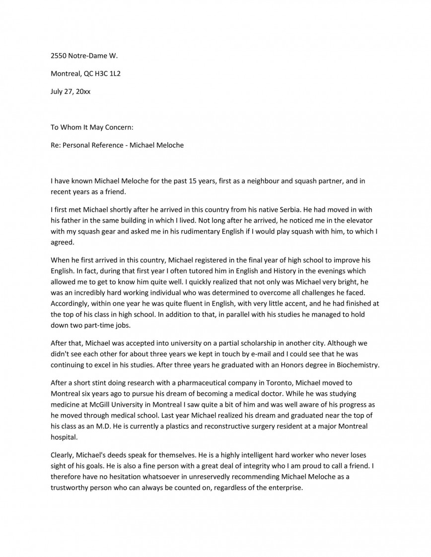 008 Formidable Free Reference Letter Template From Employer Picture  For Employment Word868