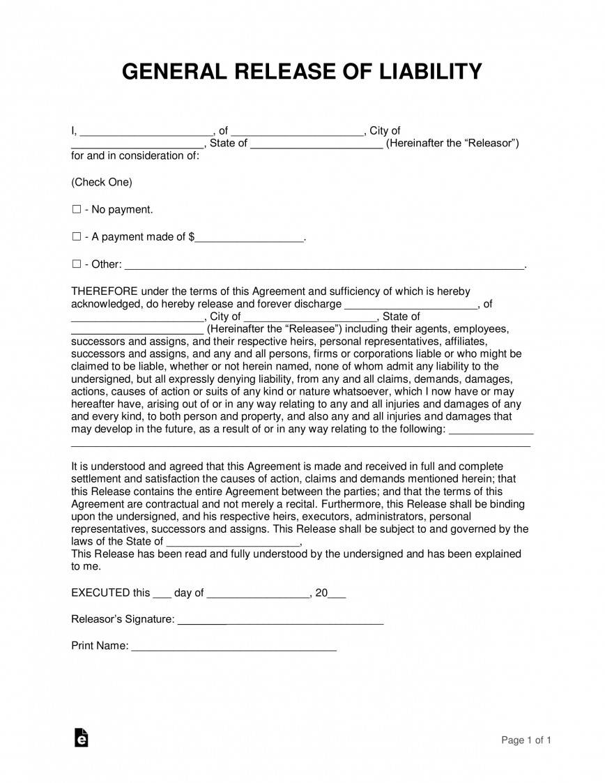 008 Formidable Liability Release Form Template Idea  Free Example Waiver Canada