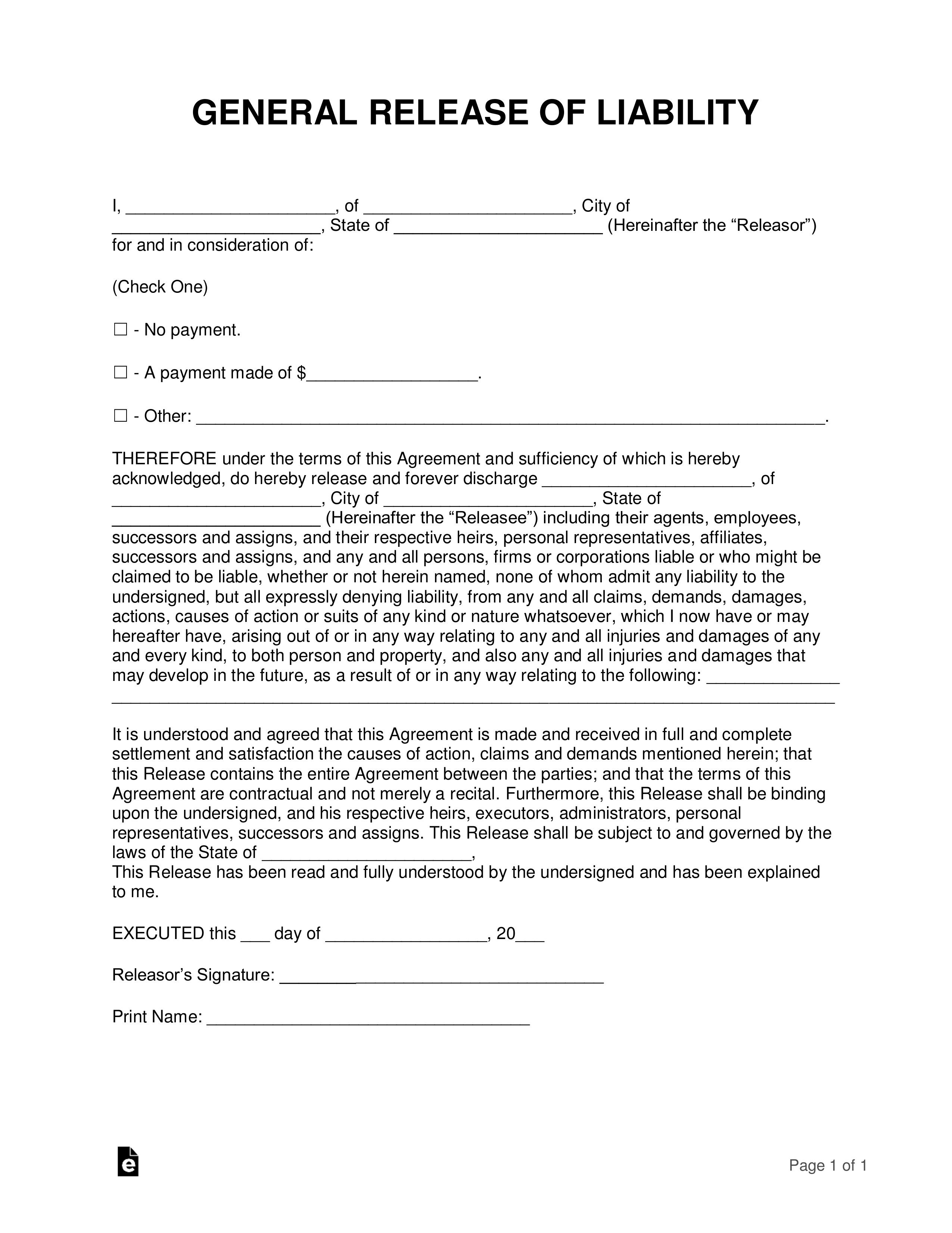008 Formidable Liability Release Form Template Idea  Free GeneralFull