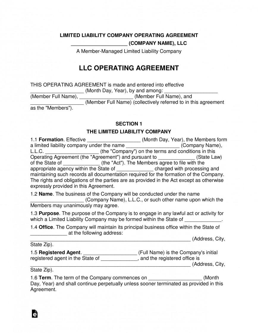 008 Formidable Llc Partnership Agreement Template Photo  Free Operating868