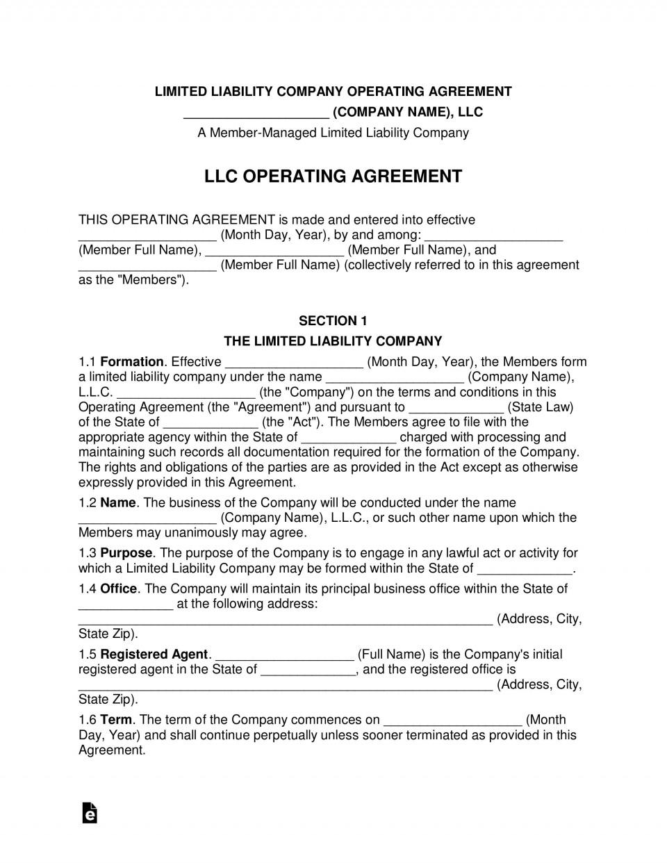 008 Formidable Llc Partnership Agreement Template Photo  Free Operating960