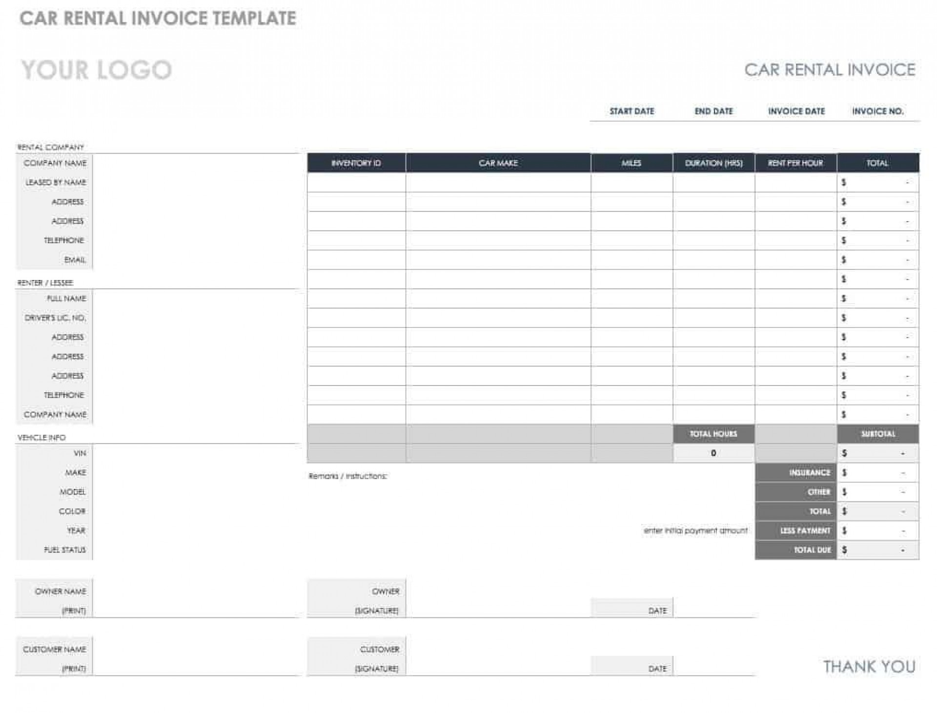 008 Formidable Microsoft Excel Auto Repair Invoice Template Picture 1920