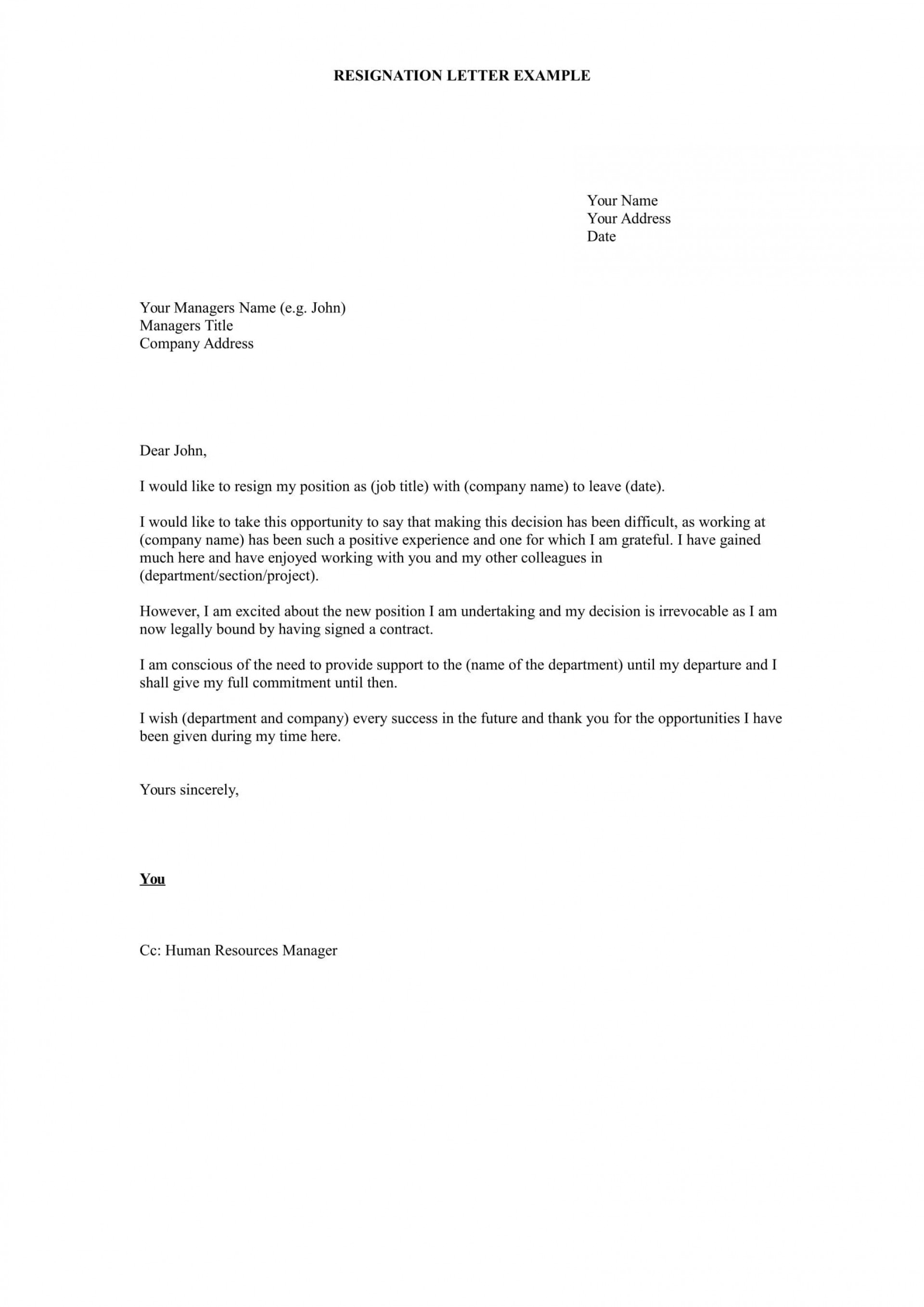 Sample Resignation Letter Template Doc Addictionary