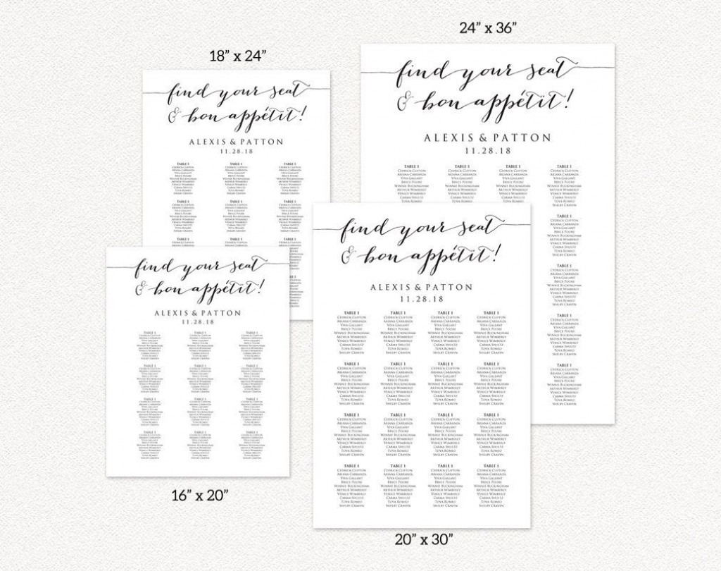 008 Formidable Seating Chart Wedding Template Idea  Alphabetical Word Table PlanLarge