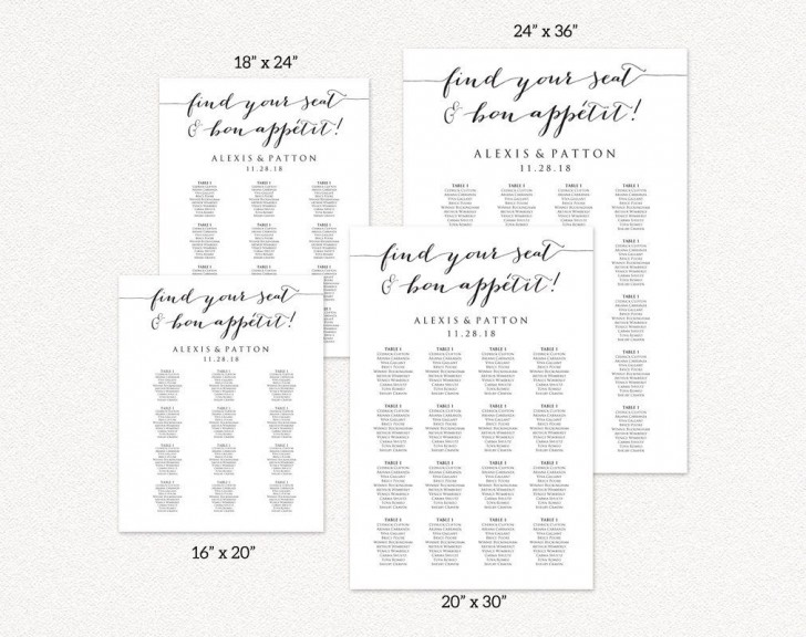 008 Formidable Seating Chart Wedding Template Idea  Alphabetical Word Table Plan728