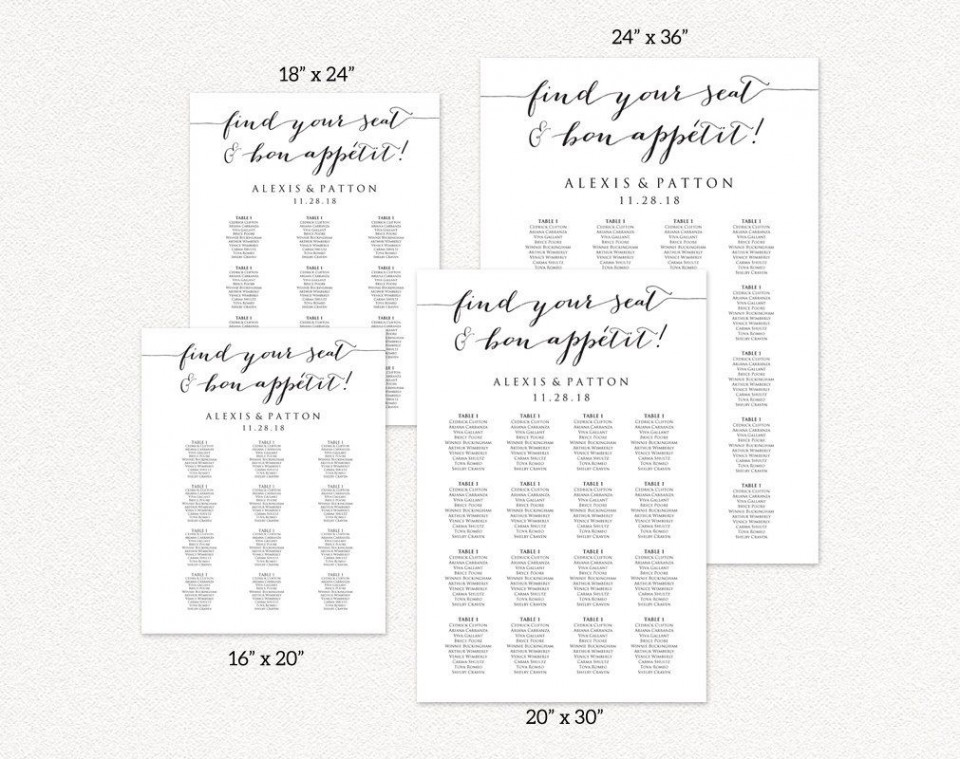 008 Formidable Seating Chart Wedding Template Idea  Alphabetical Word Table Plan960