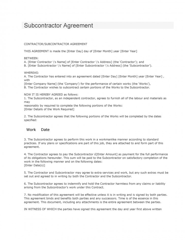 008 Formidable Subcontractor Contract Template Free Highest Clarity  Uk728
