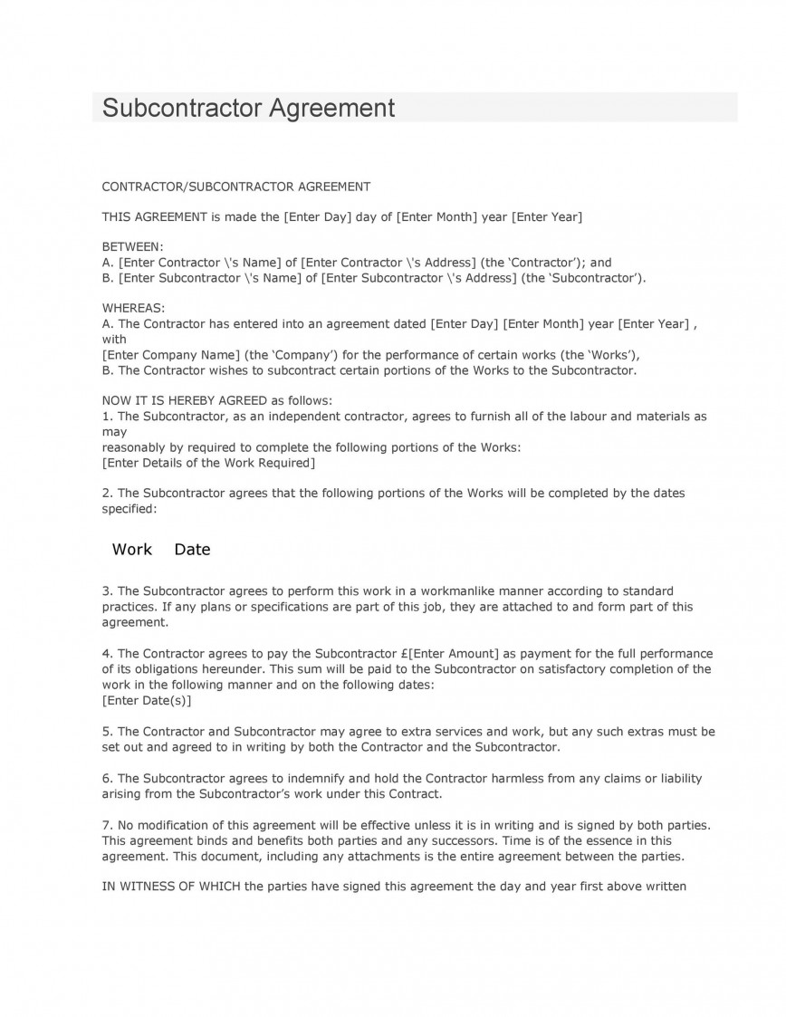 008 Formidable Subcontractor Contract Template Free Highest Clarity  Uk868