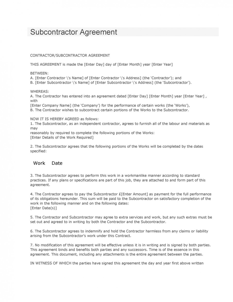 008 Formidable Subcontractor Contract Template Free Highest Clarity  Uk960