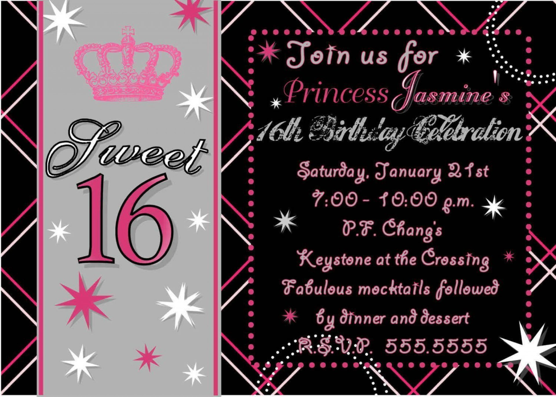 008 Formidable Sweet Sixteen Invitation Template Idea  Templates Blue 16 Party Free1920