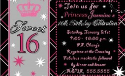 008 Formidable Sweet Sixteen Invitation Template Idea  Templates Blue 16 Party Free