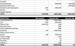 008 Formidable Video Production Budget Template Design  Example Excel Sample