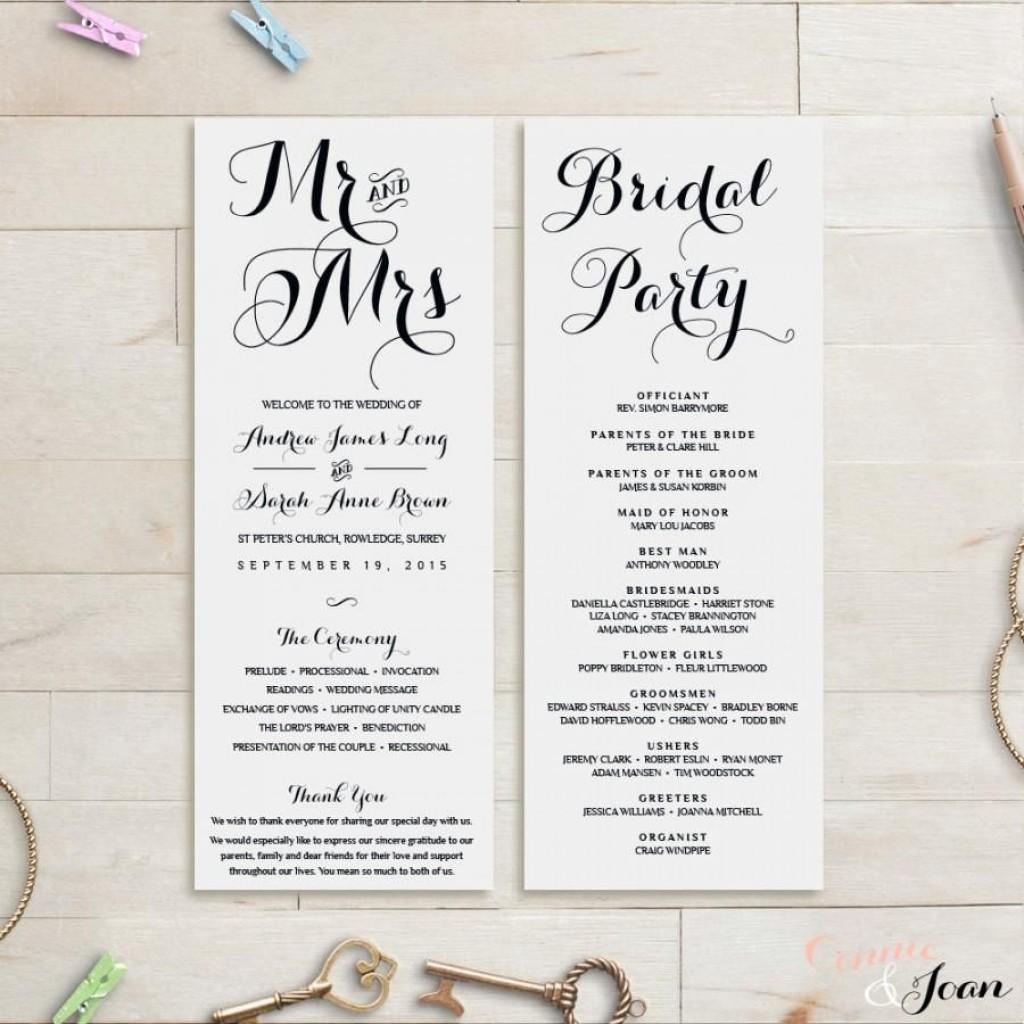 008 Formidable Wedding Order Of Service Template Concept  Pdf Publisher Microsoft WordLarge