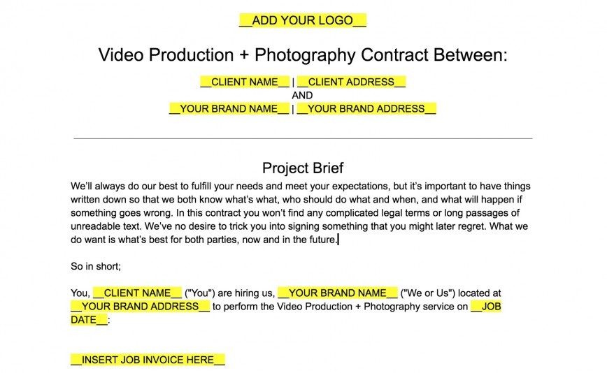 008 Formidable Wedding Videography Contract Template High Definition  Pdf Example Word868