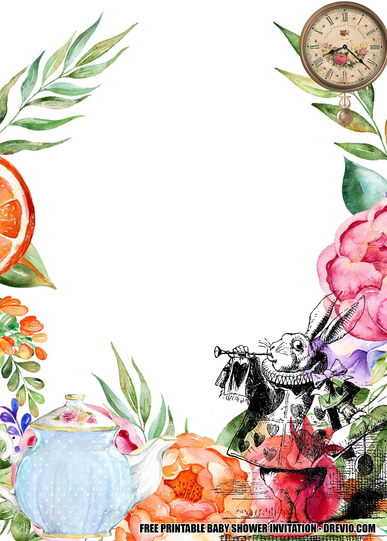 008 Frightening Alice In Wonderland Tea Party Template High Resolution  Templates Invitation FreeFull