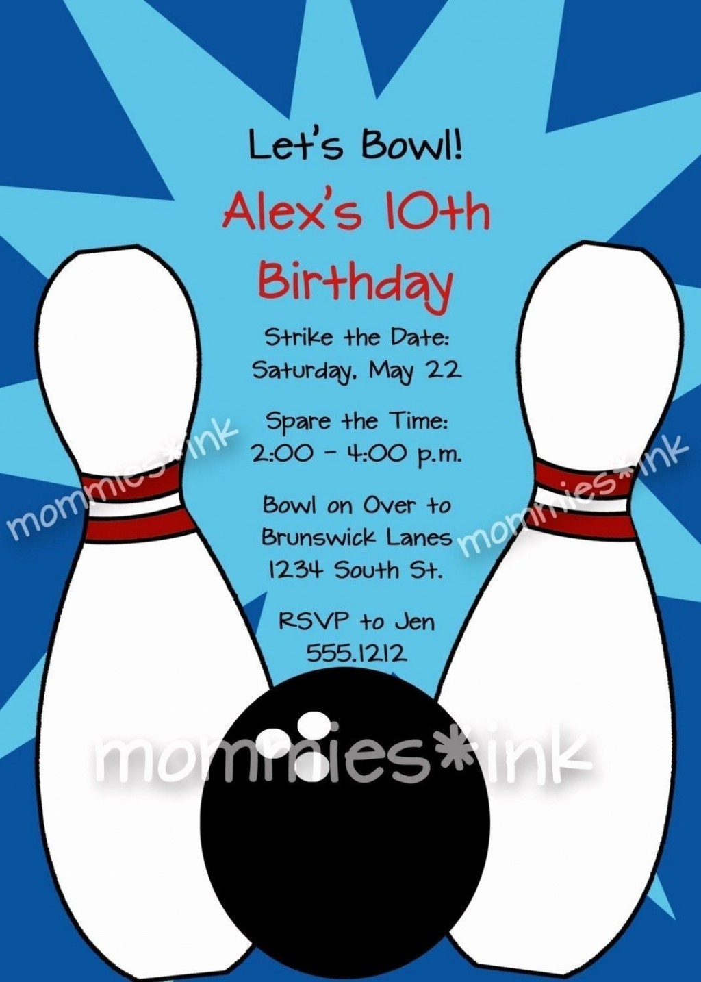 008 Frightening Bowling Party Invite Printable Free Concept  Birthday InvitationLarge