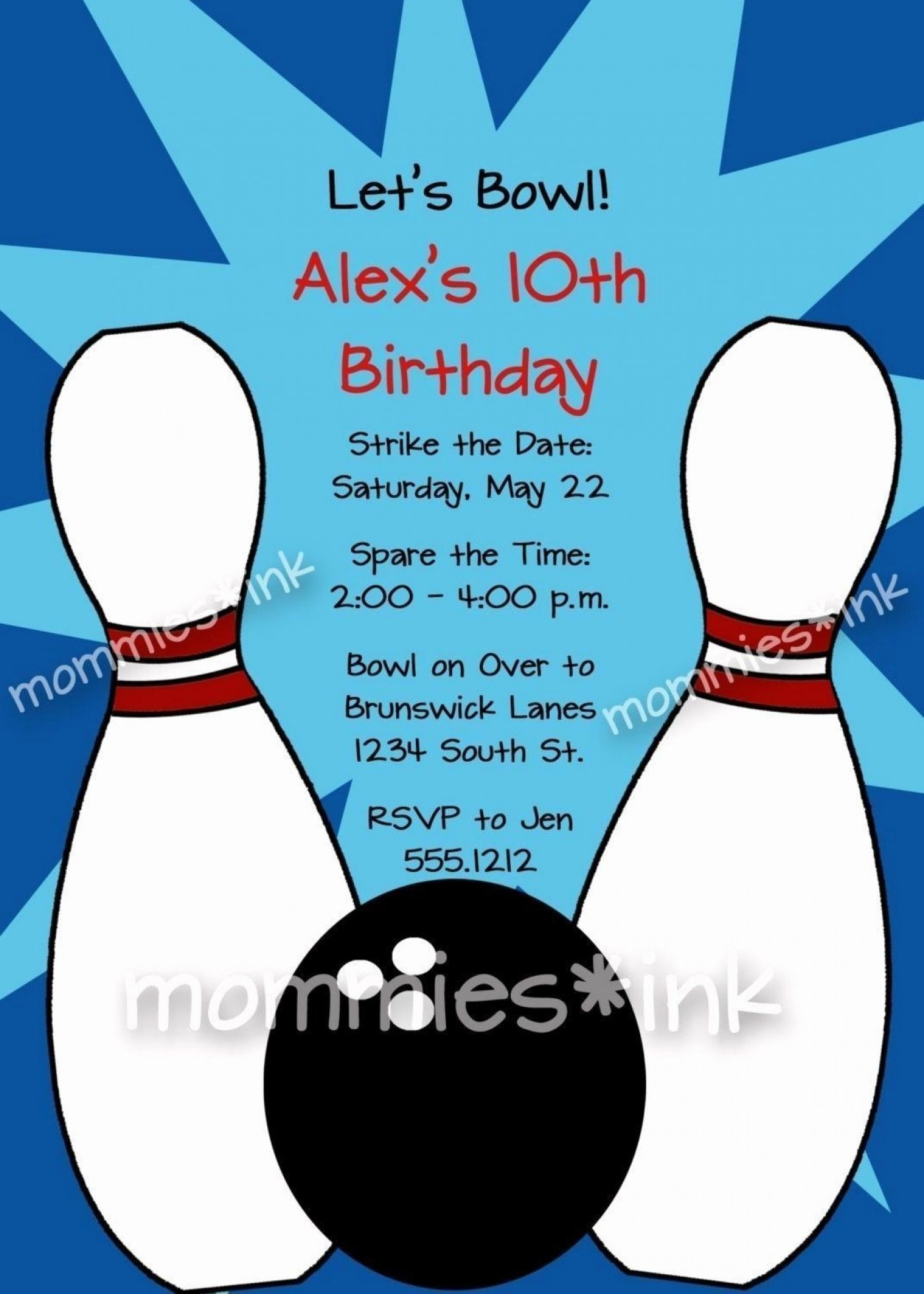 008 Frightening Bowling Party Invite Printable Free Concept  Birthday Invitation1400