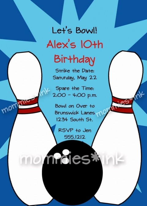008 Frightening Bowling Party Invite Printable Free Concept  Birthday Invitation480