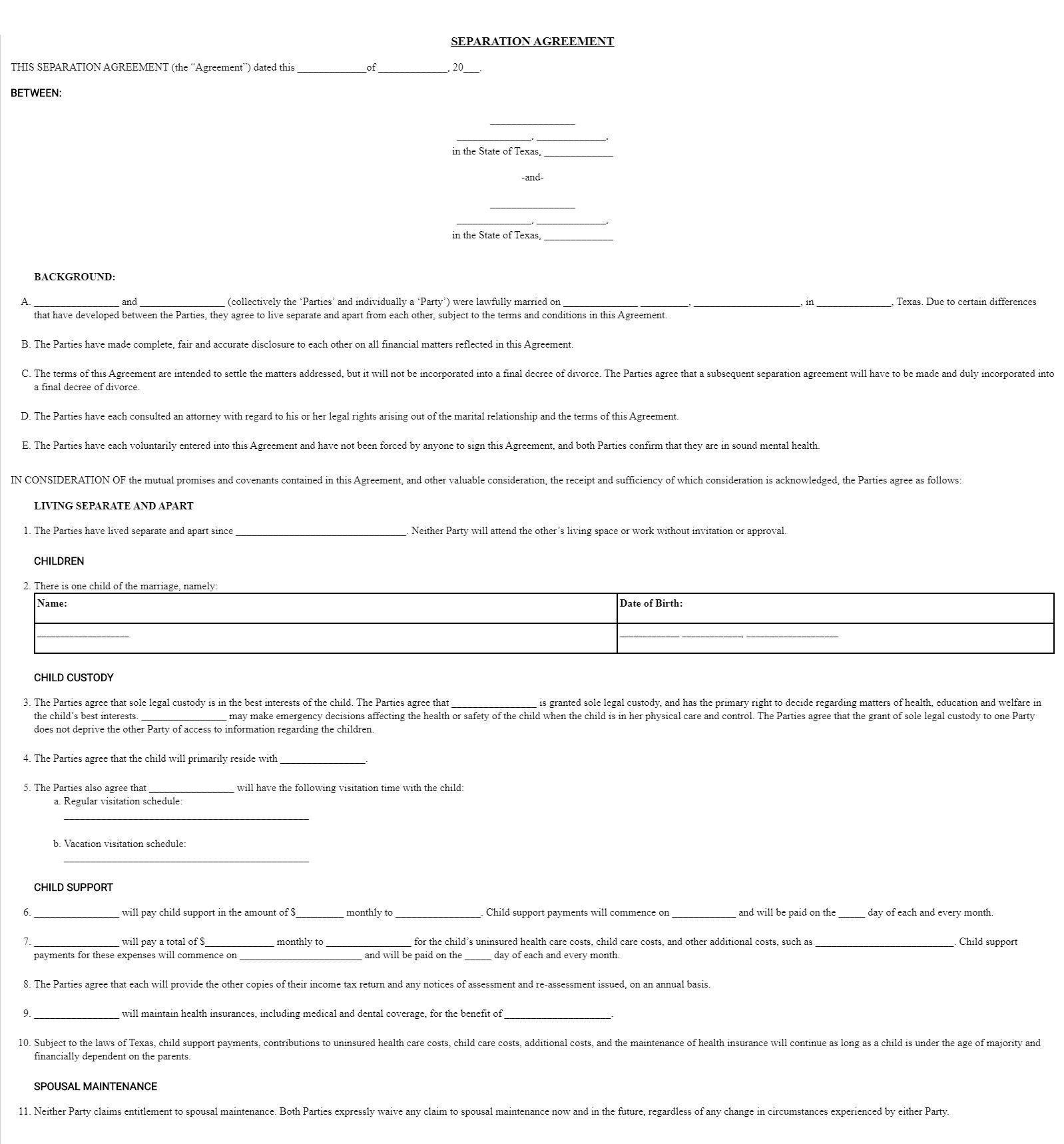 008 Frightening Divorce Settlement Agreement Template Highest Quality  Sample New York Marital Uk South AfricaFull