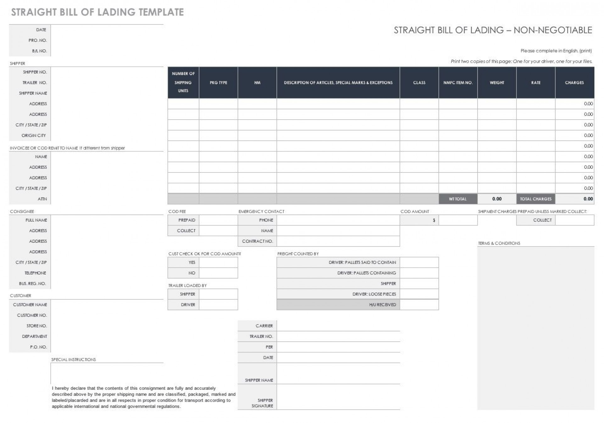 008 Frightening Free Bill Of Lading Template Concept  Download Pdf Form1920