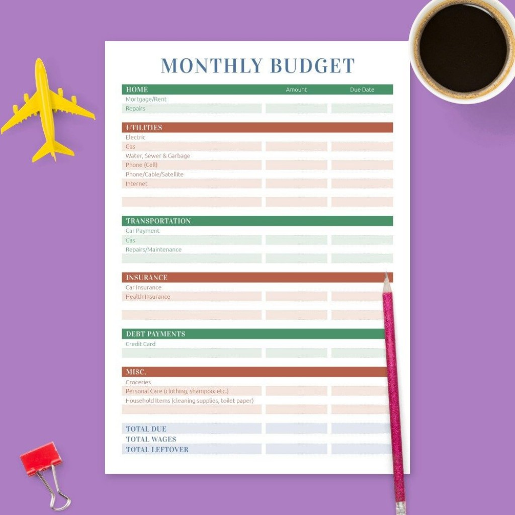008 Frightening Free Monthly Budget Template Pdf Picture  Fillable Household WorksheetLarge
