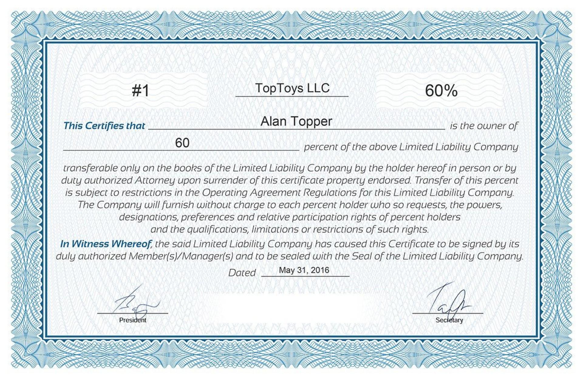 008 Frightening Llc Membership Certificate Template Photo  Interest Free Member1920