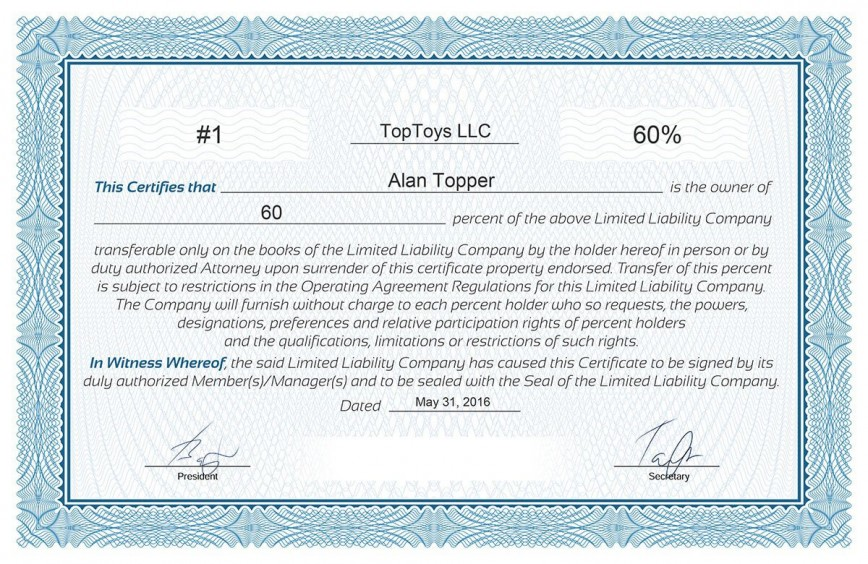 008 Frightening Llc Membership Certificate Template Photo  Pdf