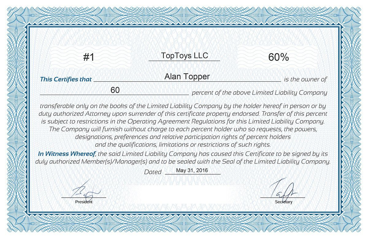 008 Frightening Llc Membership Certificate Template Photo  Interest Free MemberFull