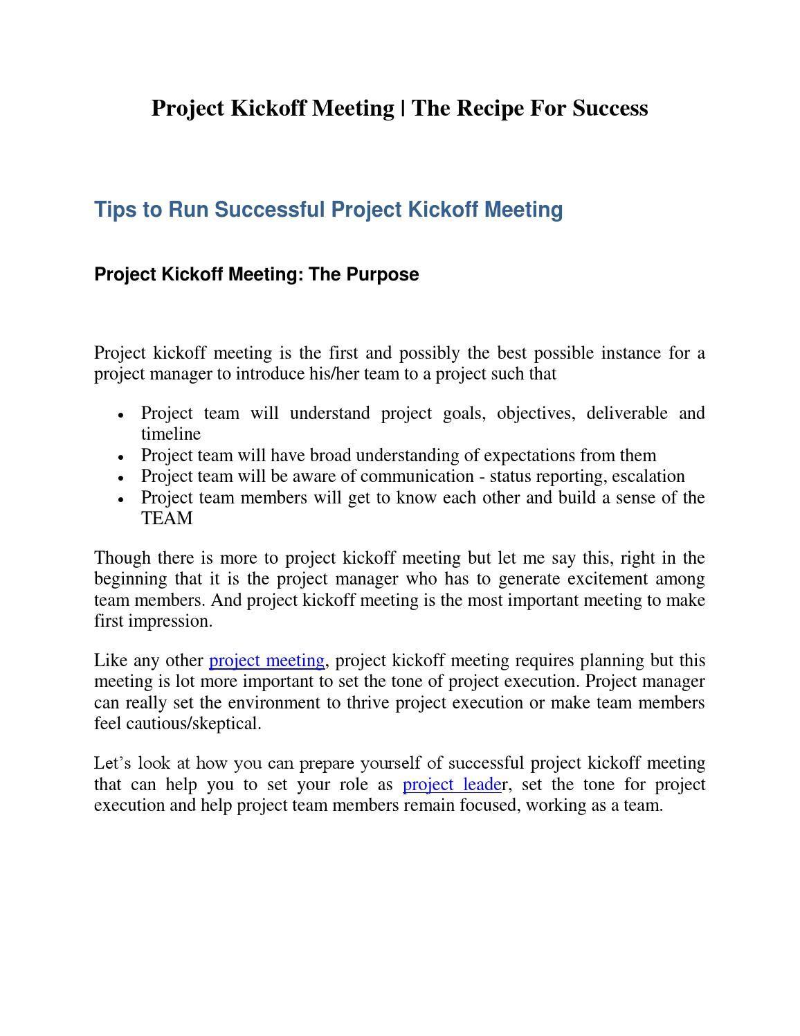 008 Frightening Project Kickoff Meeting Agenda Template High Def  ManagementFull
