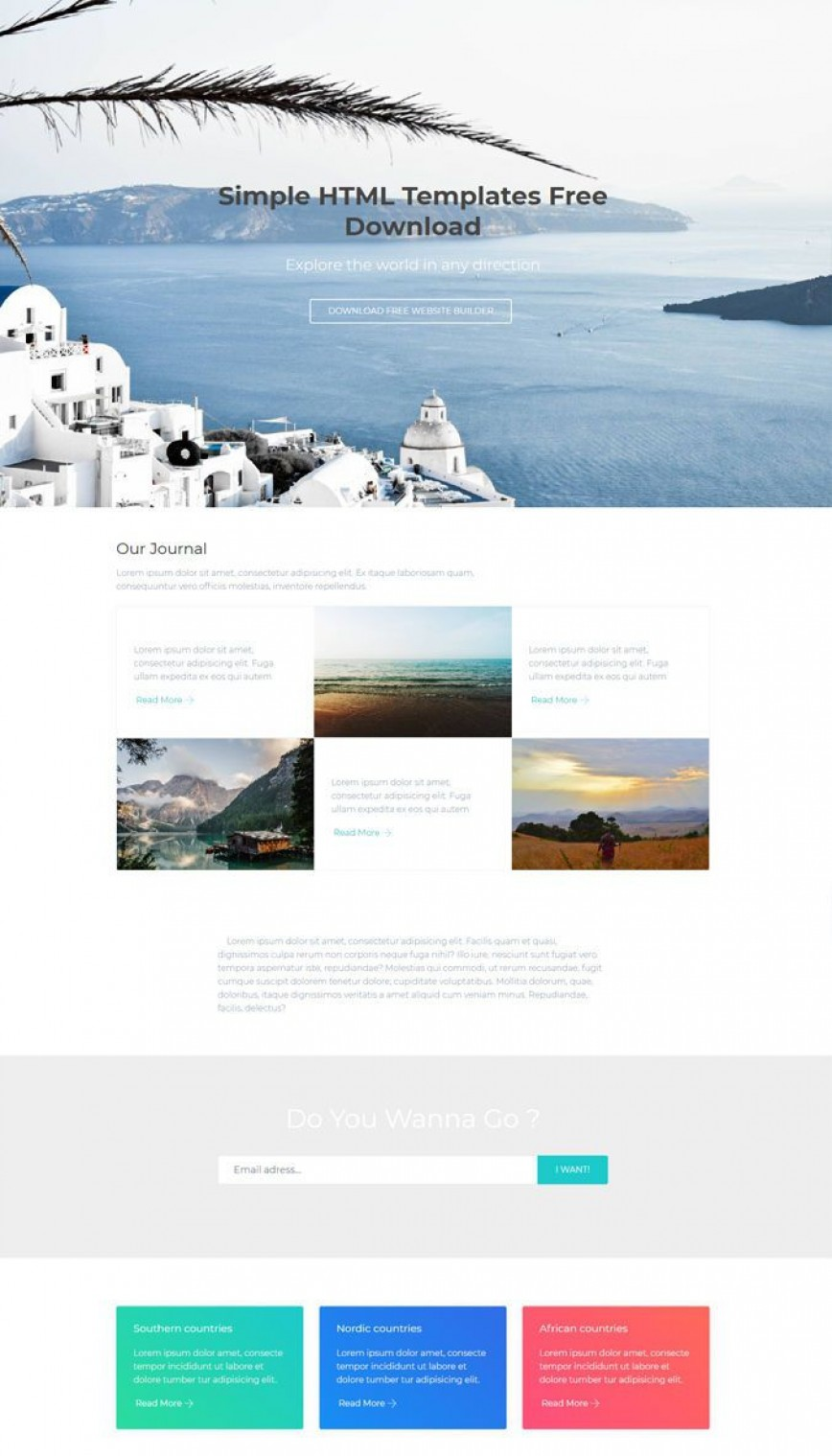 008 Frightening Simple One Page Website Template Free Download Example  Html With Cs868