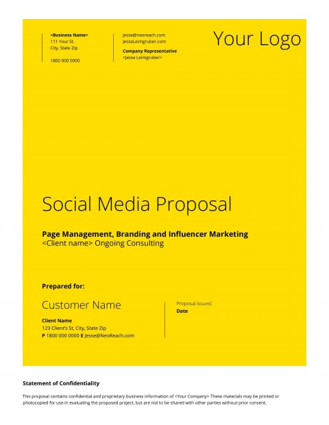 008 Frightening Social Media Proposal Template 2019 Inspiration 480
