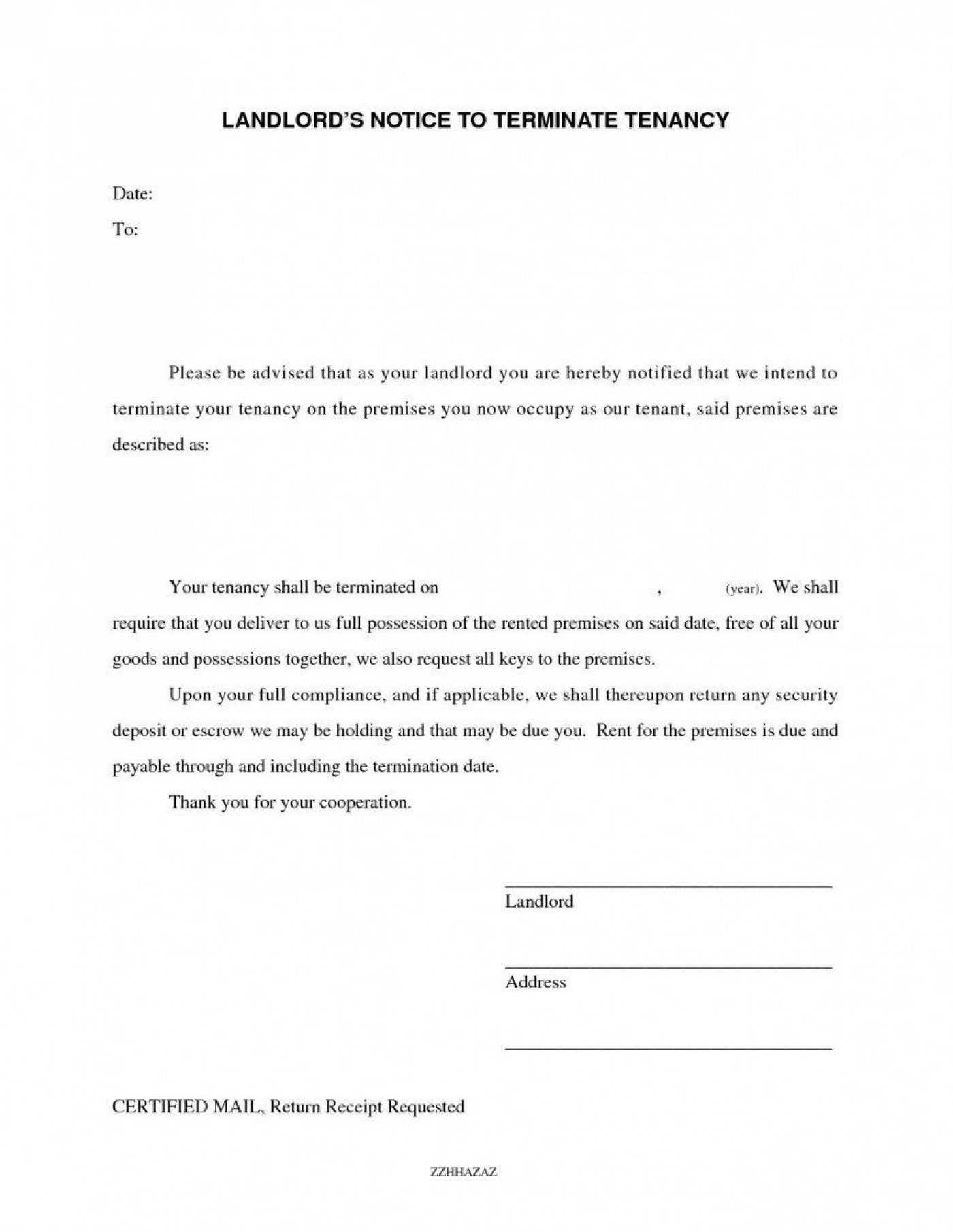 008 Frightening Template Letter To Terminate Rental Agreement Photo  End Tenancy For Landlord Ending1400
