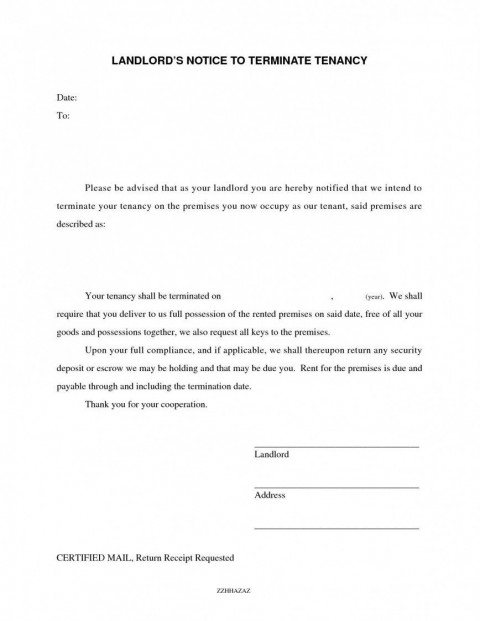 008 Frightening Template Letter To Terminate Rental Agreement Photo  End Tenancy For Landlord Ending480