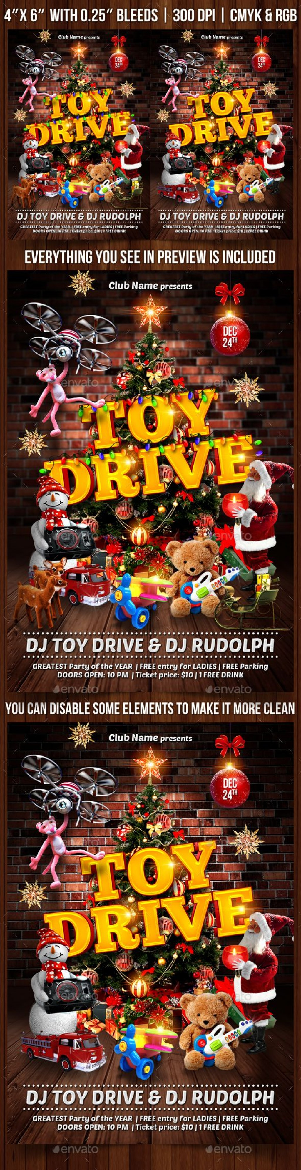 008 Frightening Toy Drive Flyer Template Highest Clarity  Holiday Download Free WordLarge