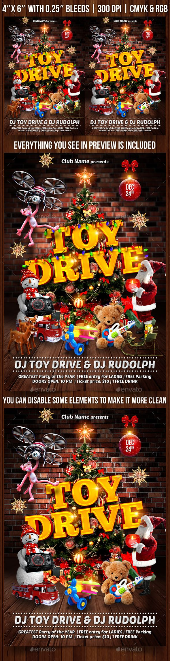 008 Frightening Toy Drive Flyer Template Highest Clarity  Holiday Download Free WordFull